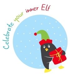 Funny winter holidays card with penguin elf vector image