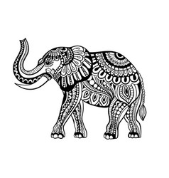 elephant in zentangle style vector image