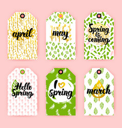 Spring trendy gift labels vector