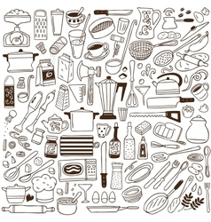kitchen tools - doodles collection vector image