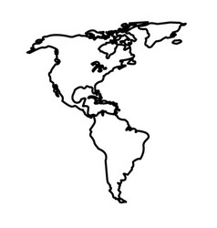 Map north and south america location line vector