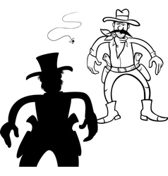 Cowboy duel bw m vector
