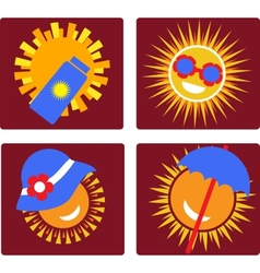 Set of 4 icons for sun protection vector