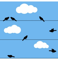 Black birds on wire vector