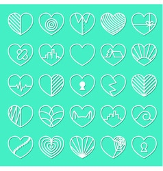 Heart icons set on teal background vector
