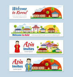 Korea japan thailand travel banners vector