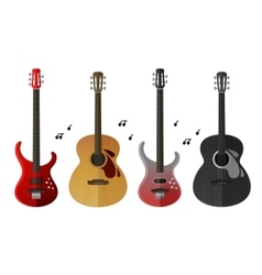 Musical instruments icons set electric guitar and vector