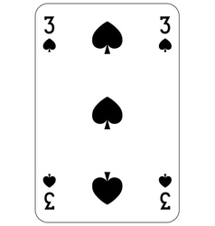 Poker playing card 3 spade vector