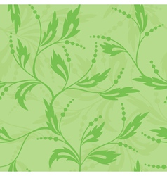 Green seamless floral texture vector