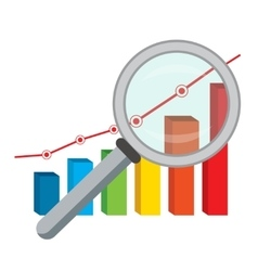 Finance graph and magnifying glass vector