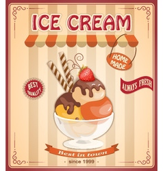 Vintage banner with scoop ice cream vector