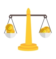 Balance scale with money isolated icon vector