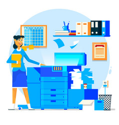 Business woman using copy machine or printing vector