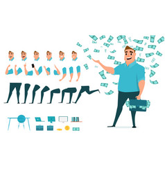 Businessman character creation set for animation vector
