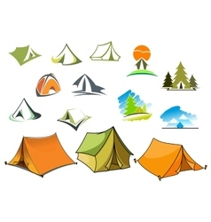 Camping symbols with tents and nature vector