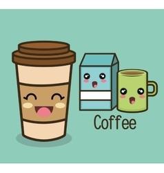 Cartoon set coffee cup milk vector