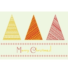 Christmas tree set with geometrical line vector