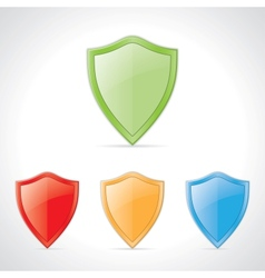 colored shields vector image vector image