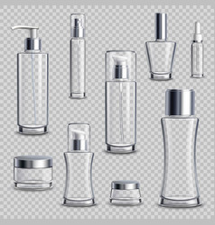 Cosmetics package realistic transparent set vector