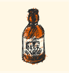 craft beer bottle pub sketch vector image vector image