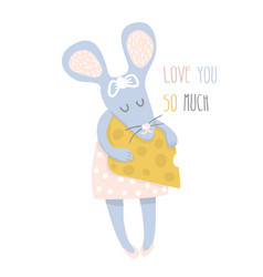 Cute girl mouse with cheese hand drawn vector
