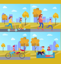 family activities in park vector image vector image