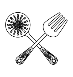 Figure skimmer with big fork tools vector