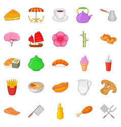 fish meal icons set cartoon style vector image
