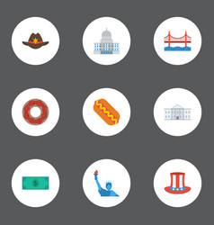 flat icons usa hat white house cowboy and other vector image vector image