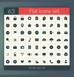 Flat user interface icons set vector