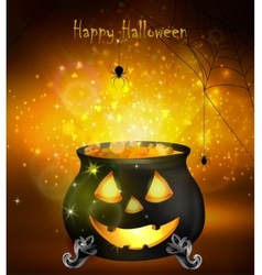 Halloween witches cauldron vector image vector image