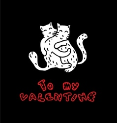 hand drawn cats in love vector image vector image