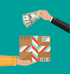 hands with postal cardboard box and money vector image
