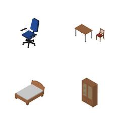 Isometric furnishing set of cabinet bedstead vector