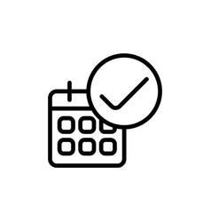 line calendar ok icon on white background vector image