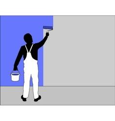 man painting wall vector image