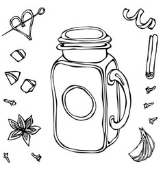 Mason drinking jar vintage coctail glass hand vector