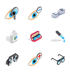 Ophthalmology icons isometric 3d style vector