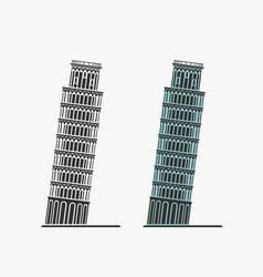 Pisa tower symbol vector