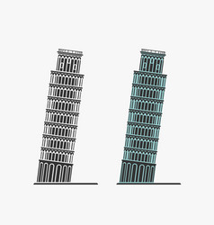 pisa tower symbol vector image vector image