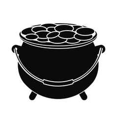 Pot full of coins icon vector image vector image