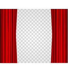 Realistic red opened stage curtains on a vector