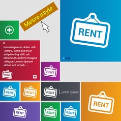 Rent icon sign buttons Modern interface website vector image