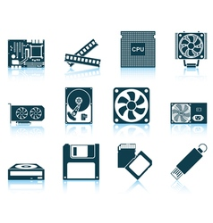 Set of computer hardware icons vector