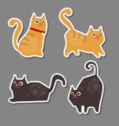 set of cute cat stickers set of cute cat stickers vector image