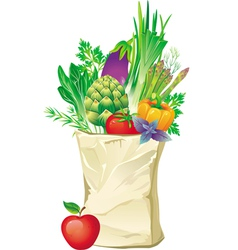shopping bag full of vegetables vector image vector image