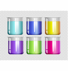 Six beakers filled with colorful liquid vector