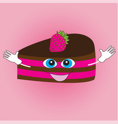 smiling cake on a pink background vector image vector image