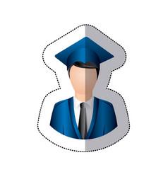 Sticker colorful half body man with graduation vector