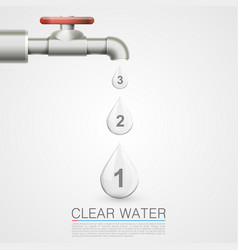 Tap with water drops info vector